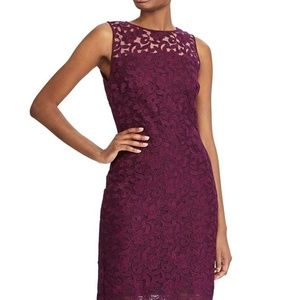 NWT Ralph Lauren Wine Illusion Floral Lace Dress